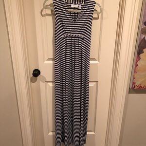 Chico's Navy striped maxi dress s